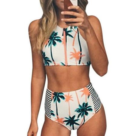 Womens Floral Bikini Set Push-up Padded Bra High Waist Crop Top Tank Bathing Swimsuit Beachwear