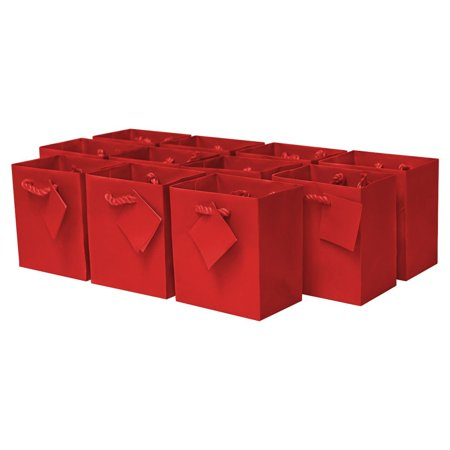 Extra Small 4 x 2.75 x 4.5 x 2.75 Paper Gift Bags with Handles, Party Favor Bags for Birthday Parties, Weddings, Holidays and All Occasions (12 Gift Bags) RED Color