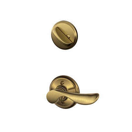 Handed Champagne Interior Pack - Schlage F Series Champagne Single Cylinder Interior Pack with Round Rosette