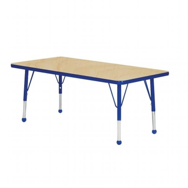 Mahar Manufacturing M3660BL-SB Rectangle Activity Table with Maple Top and Blue Edge, 36 x 60 in.