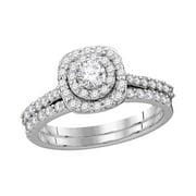 14kt White Gold Womens Natural Diamond Round Bridal Wedding Engagement Ring Band Set (1.00 cttw.) si