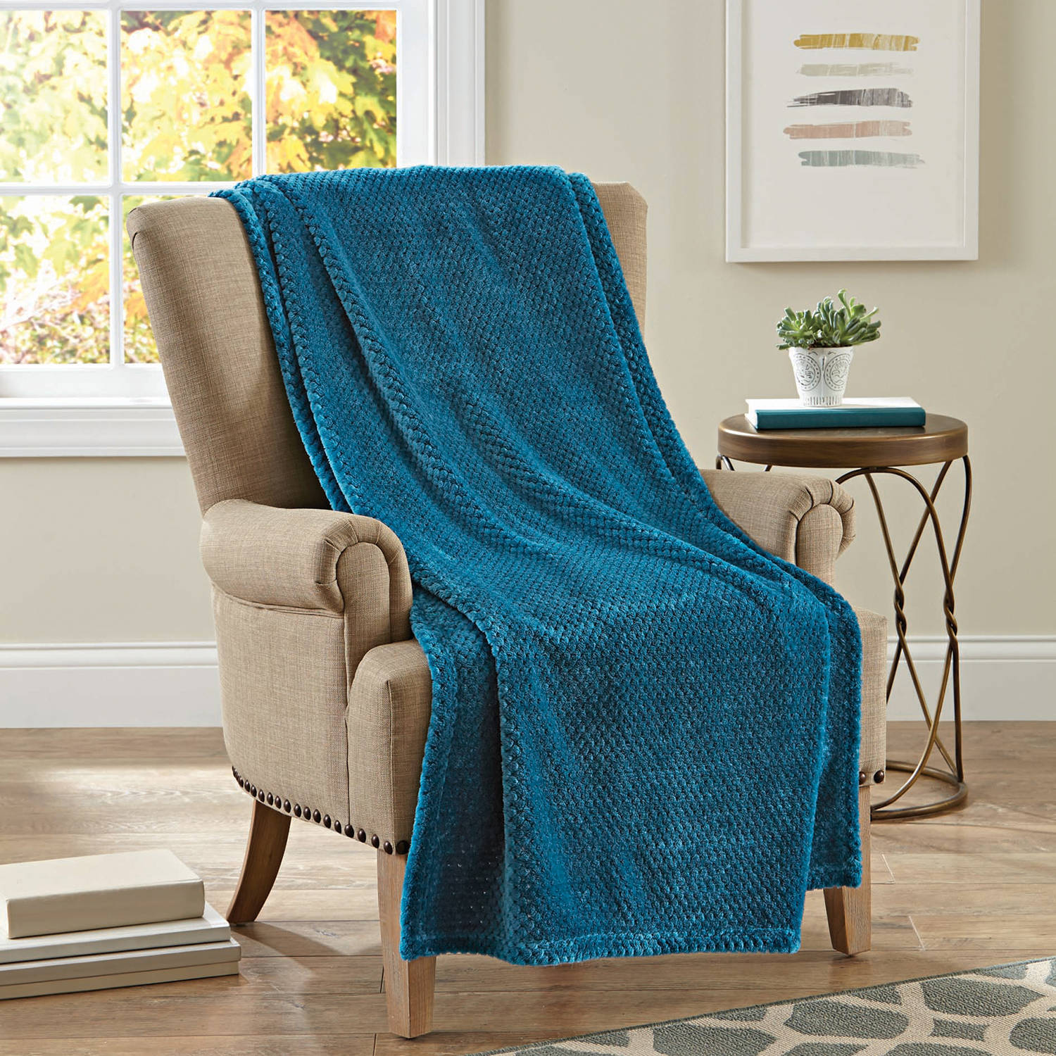 "Better Homes and Gardens Velvet Plush 50"" x 70"" Throw, Teal Popcorn Texture"