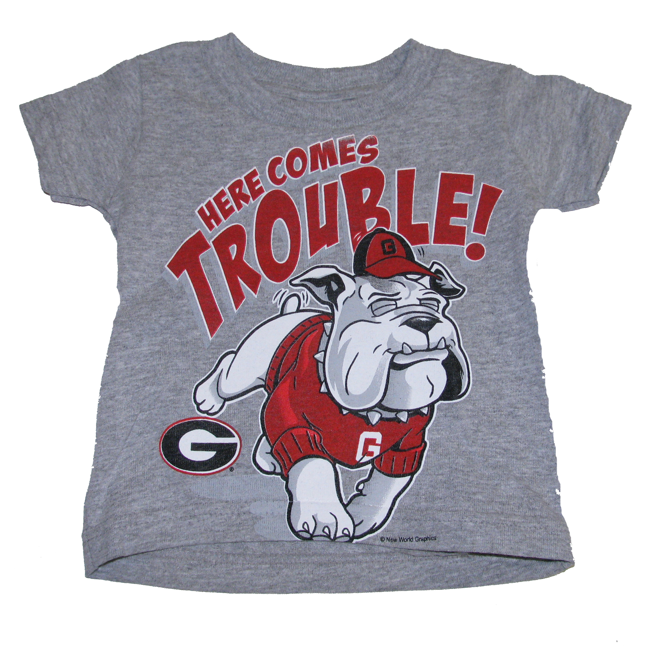 Georgia Bulldogs Here Comes Trouble Babies And Toddlers T-shirts