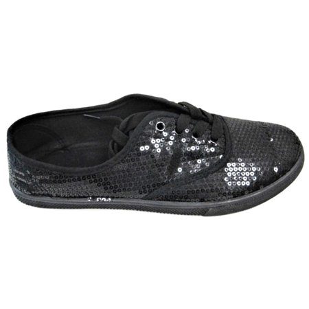 W1412 Women Fashion Sequin Sparkle Lace Up Tennis Sneakers Athletic Shoes Flats Black
