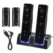 Insten Charge Charging Station Cradle Dock Charger with 2-pack Rechargeable Batteries For Nintendo Wii Wii U Remote Controller