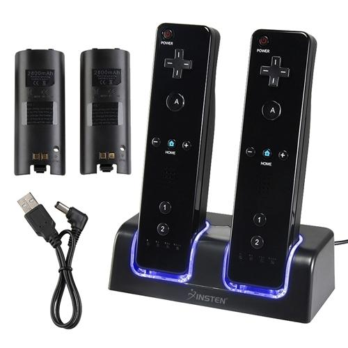 Insten Charge Charging Station Cradle Dock Charger with 2-pack Rechargeable Batteries For Nintendo Wii /Wii U Controller