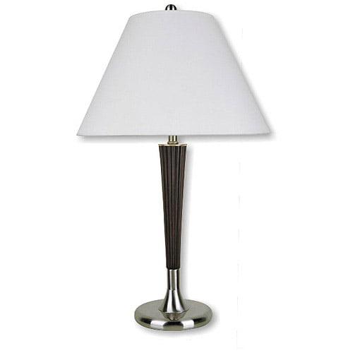 ORE International Table Lamp, Walnut/Silver