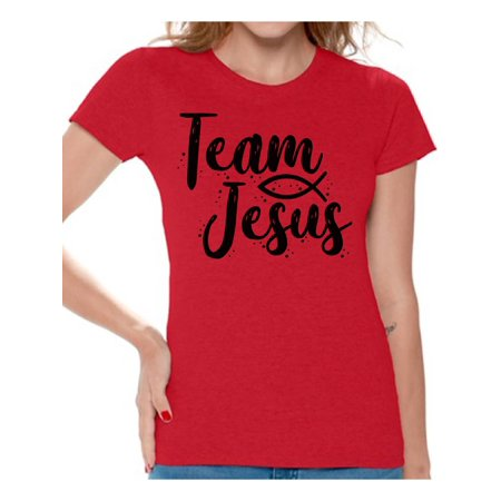 Awkward Styles Christian Clothes for Ladies Team Jesus Womens T-Shirt Black Tshirt for Girls Christian Gifts for Girl Jesus Shirts Jesus Team Clothing Collection for Women Jesus T Shirt for Her Girls Ladies Shirt