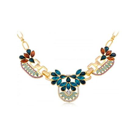 Golden Tone Genuine Multicoloured Rhinestone Teardrop Cut Floral Collar Necklace