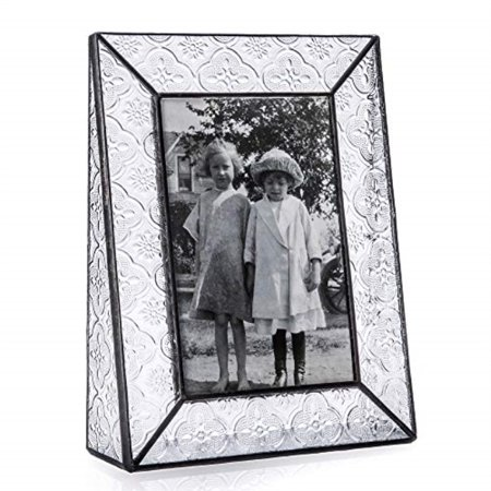 J Devlin Pic 126-46V Picture Frame Clear Vintage Stained Glass 4x6 Vertical Tabletop Photo - Vintage Stained Glass