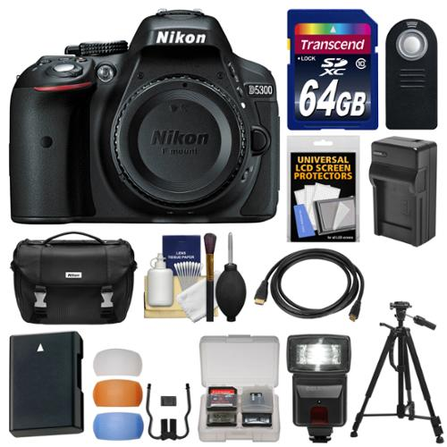 Nikon D5300 Digital SLR Camera Body (Black) with 64GB Card + Case + Flash + Battery & Charger + Tripod Kit