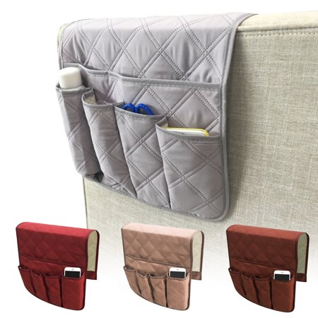 Armrest Set - TSV Teniux Christmas Remote Control Holder, Non-Slip Couch Sofa Chair Armrest Organizer, 5 Pockets Armchair Caddy for Smart Phone, Book, Magazines, TV Remote Controls