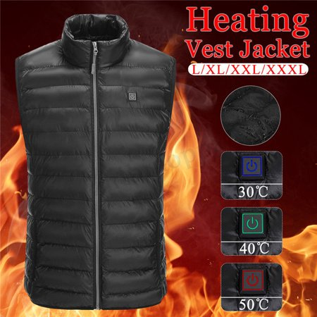 USB Men Electric Heating Vest Jacket Winter Warm Heated Pad Winter Body