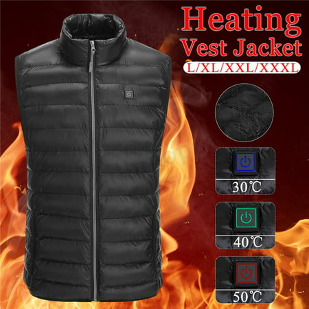 USB Men Electric Heating Vest Jacket Winter Warm Heated Pad Winter Body Warmer-L (General Electric Usb)