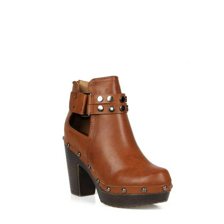 Nature Breeze Ankle high women's clog booties in - Hennessy Cognac
