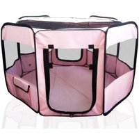 ToysOpoly Portable Pet Playpen Puppy Kennel, Small and Medium Size Dogs and Cats, Pink