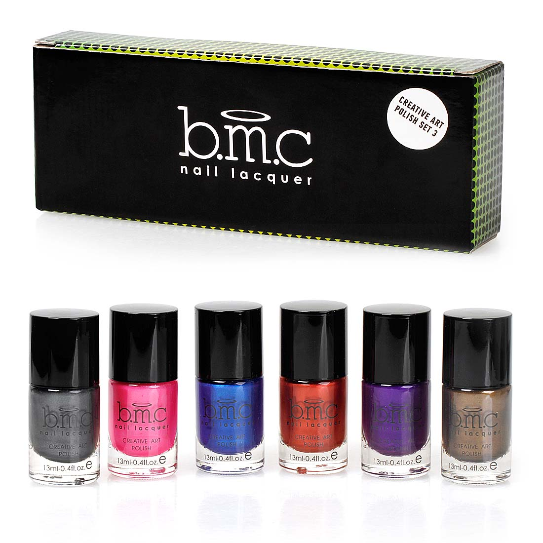 BMC Metallic Color Nail Stamping Lacquers - Creative Art Polish Collection:Set 3