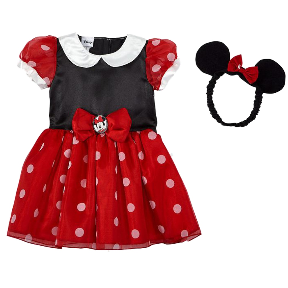 Disney Infant Toddler Girls Minnie Mouse Costume Red Baby Dress Headband