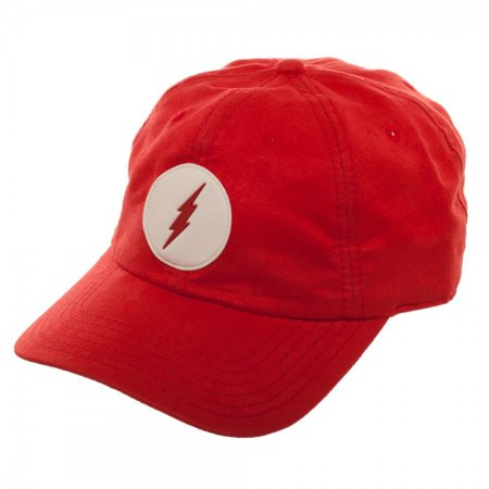 DC Comics The Flash Suede Adjustable Dad Hat w/Leather Patch - Flash Hat
