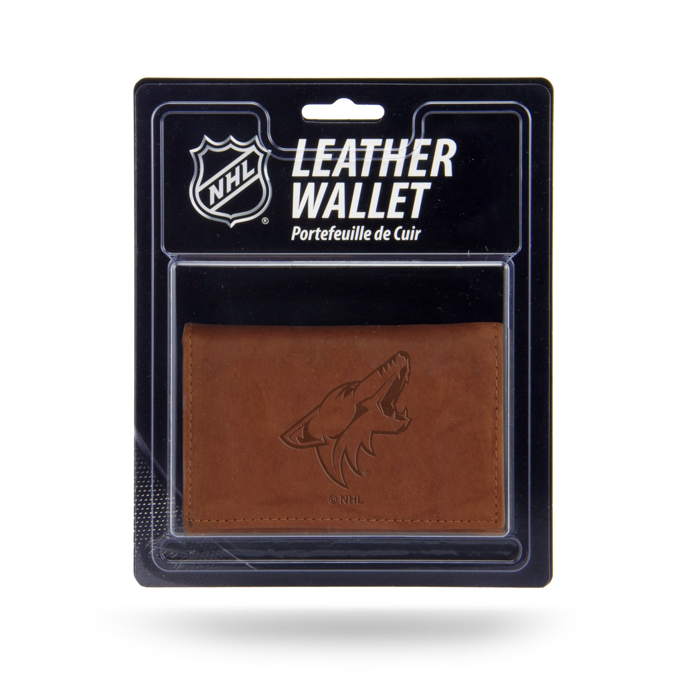 Arizona Coyotes Brown Leather Trifold Wallet