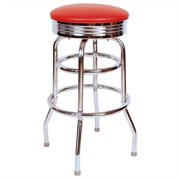 "Richardson Seating Retro 1950s 30"" Chrome Swivel Bar Stool in Black"