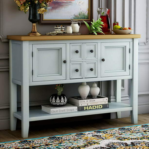 Buffet Cabinet Kitchen Storage Cabinet Sideboard Buffet Storage Cabinet W 1 Shelf 2 Cabinets 4 Storage Drawers Tv Stand Nbsp For Kitchen Office Bedroom 46 X 15 X 34 Lime White Q3713 Walmart Com