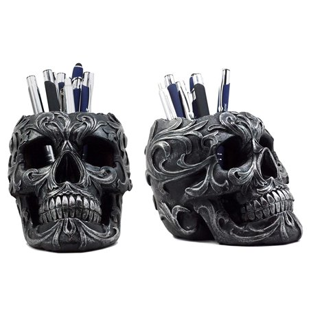 Ebros Gift Set of 2 Tribal Tattoo Floral Skull Pen Holder Figurine 5.75