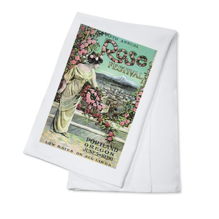 Portland, Oregon - Fifth Annual Rose Festival - Vintage Advertisement (100% Cotton Kitchen Towel) (Halloween Festivals Portland Oregon)