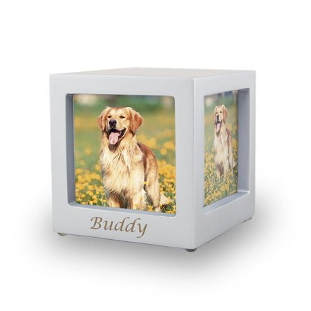 Wood Photo Cube Cremation Urn - Extra Small 25 Pounds -  Silver Photo Cube - Custom Engraving Included