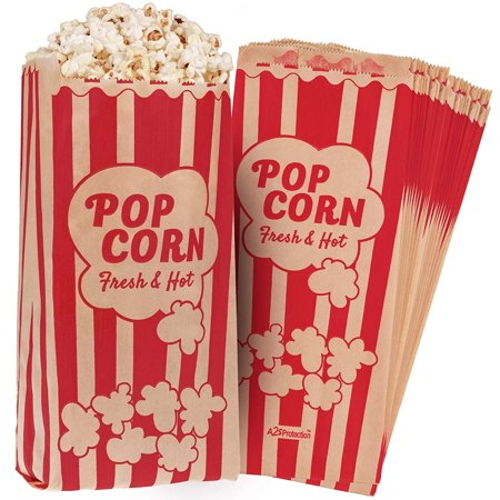 Popcorn Bags Kraft Paper Red Printed Vintage Retro Style 125 Pcs Large 11