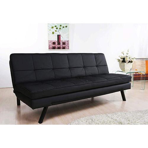 Hemingway Convertible Futon Sofa Bed Black Faux Leather Walmart Com