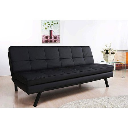 hemingway convertible futon sofa bed black faux leather
