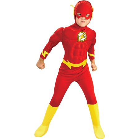 Morris Costumes Boys Superhero Flash Muscle Chest Complete Outfit 4-6, Style - Flash Superhero Costumes