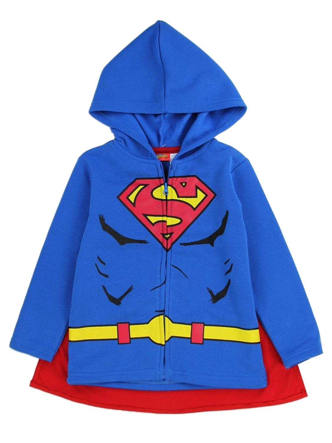 DC Comics Toddler Boys Fleece Superman Zip-Front Caped Hoodie Sweatshirt