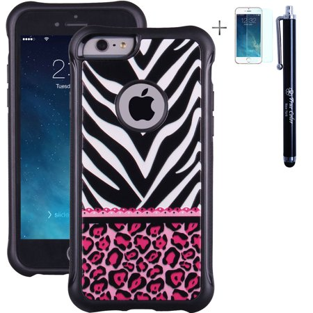 iPhone 6 6s Case, True Color® Hot Pink Leopard & Lace on Zebra Emboss Printed Impact Resistant TPU Anti-slip Grip Snap-On Soft Rugged Cover for iPhone 6/6s (4.7