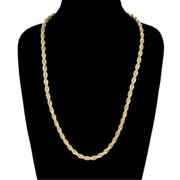 6 mm & 24 in. 14K Gold Plated Rope Chain Necklace