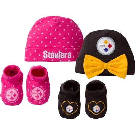 NFL Pittsburgh Steelers Baby Girl Cap and Bootie Accessories Set ae9930415