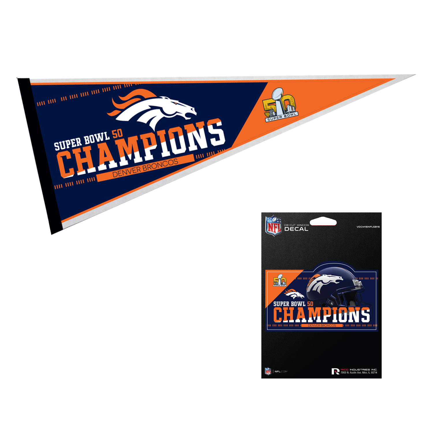 Denver Broncos NFL Super Bowl 50 Champions Pennant And Medium Die Cut Car Decal Bundle 2 Pack