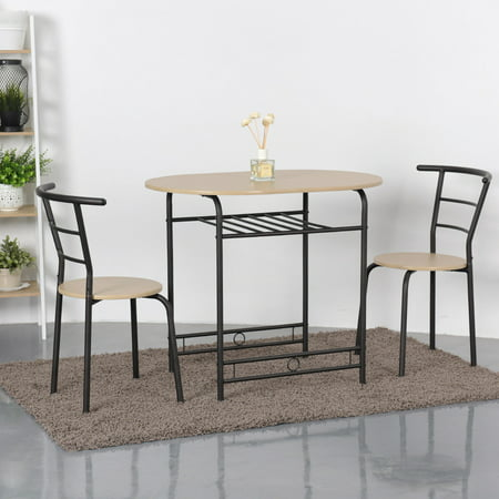 Gymax 3 Piece Dining Set Home Kitchen Furniture Table and 2 Chairs Natural 3 Set Dining Tables