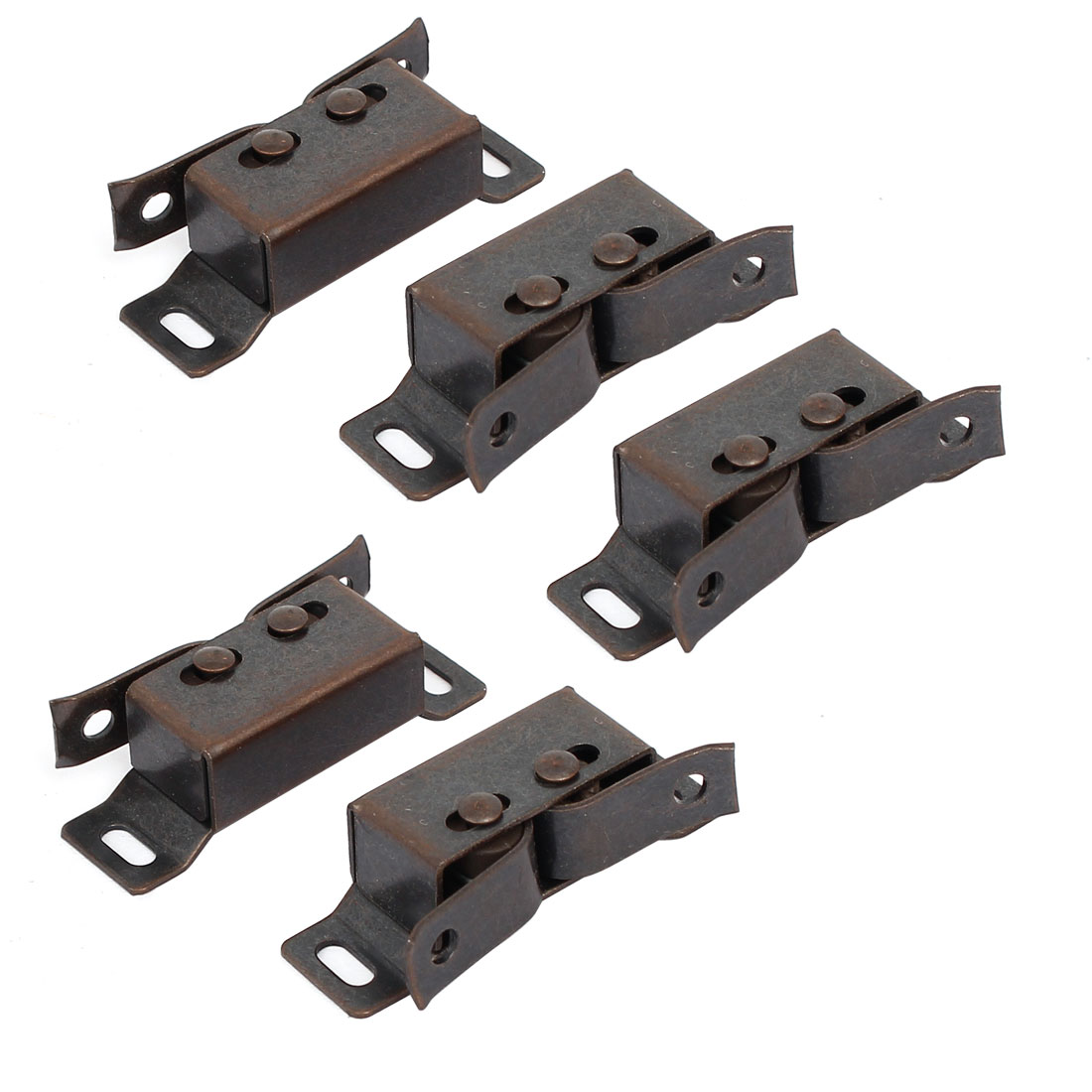 Wardrobe Door Double Ball Roller Latch Catches Copper Tone 46x17x13mm 5pcs