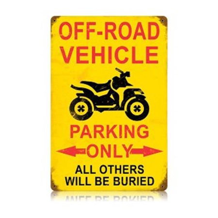 Past Time Signs V454 Off Road Parking Vintage Sports and Recreation Vintage Metal Sign, 12 W X 18 H in.