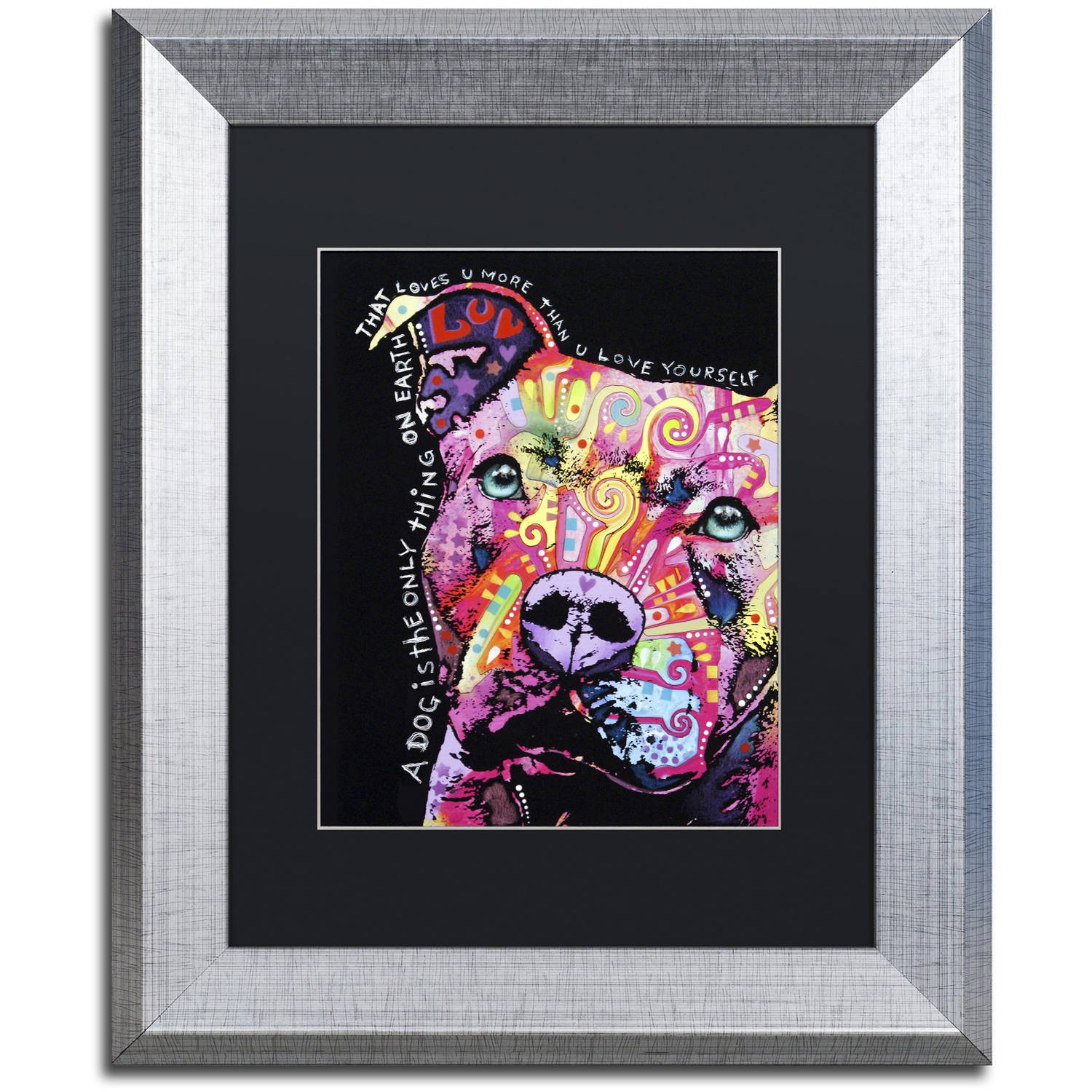 "Trademark Fine Art ""Thoughtful Pit Bull"" Canvas Art by Dean Russo, Black Matte, Silver Frame"