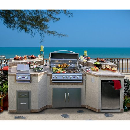 Cal Flame 3 Piece Island With 4 Burner Bbq Grill And Rotisserie