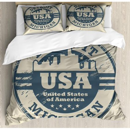 Michigan State Pillow Sham (America Queen Size Duvet Cover Set, Passport Stamp Inspired Grungy Figure of Detroit Michigan State with Stars, Decorative 3 Piece Bedding Set with 2 Pillow Shams, Blue Grey and Taupe, by Ambesonne)