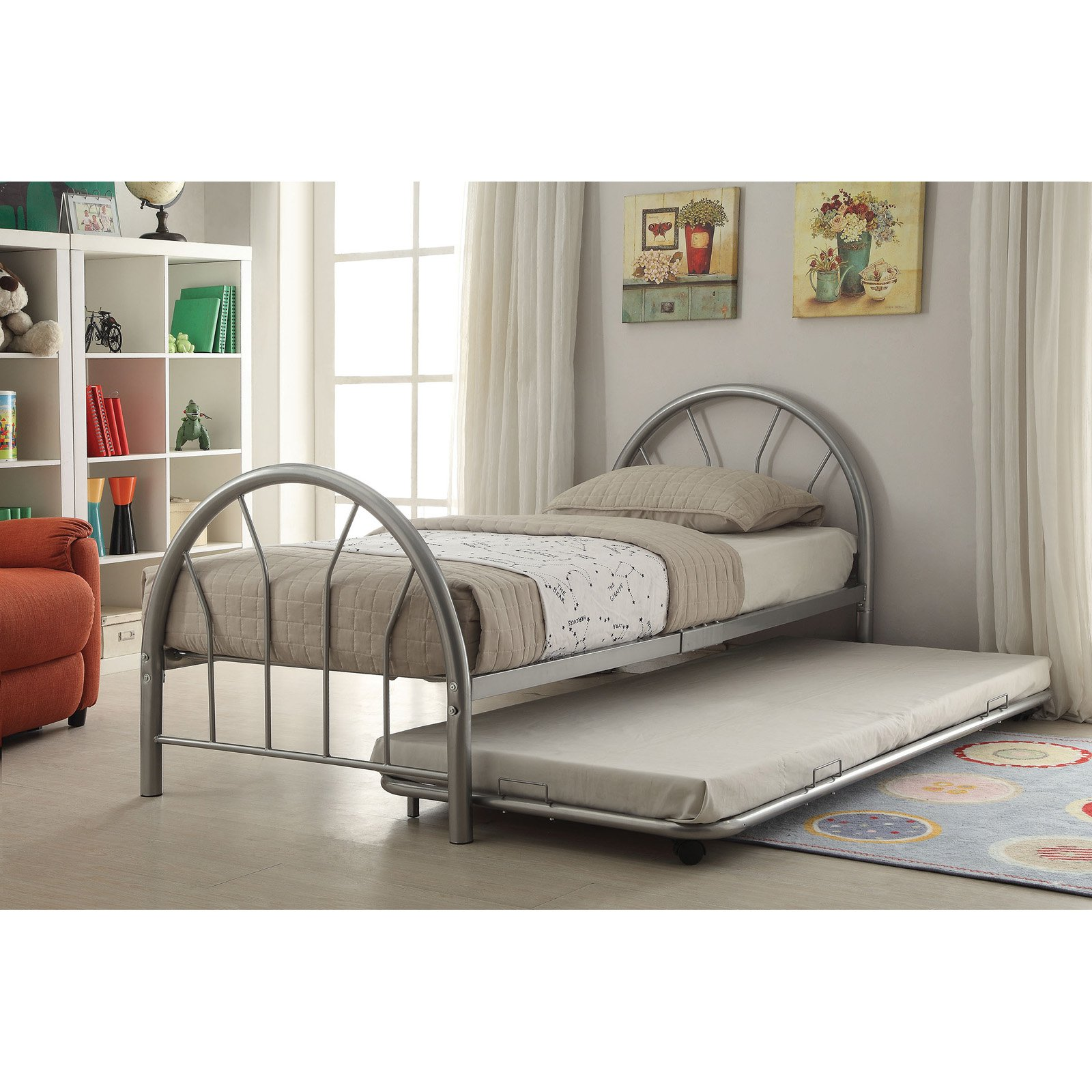 Silhouette Twin Bed With Trundle Silver Walmart Com