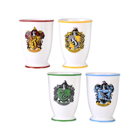 Harry Potter Mug Drinking Glass Goblet Cup Set 12 Oz. Hogwarts Houses (Gryffindor, Slytherin, Hufflepuff, - Hogwarts Costumes