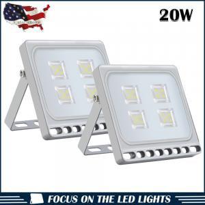 2pcs Ultraslim 20W LED Floodlight Outdoor Security Lights 110V Cool white