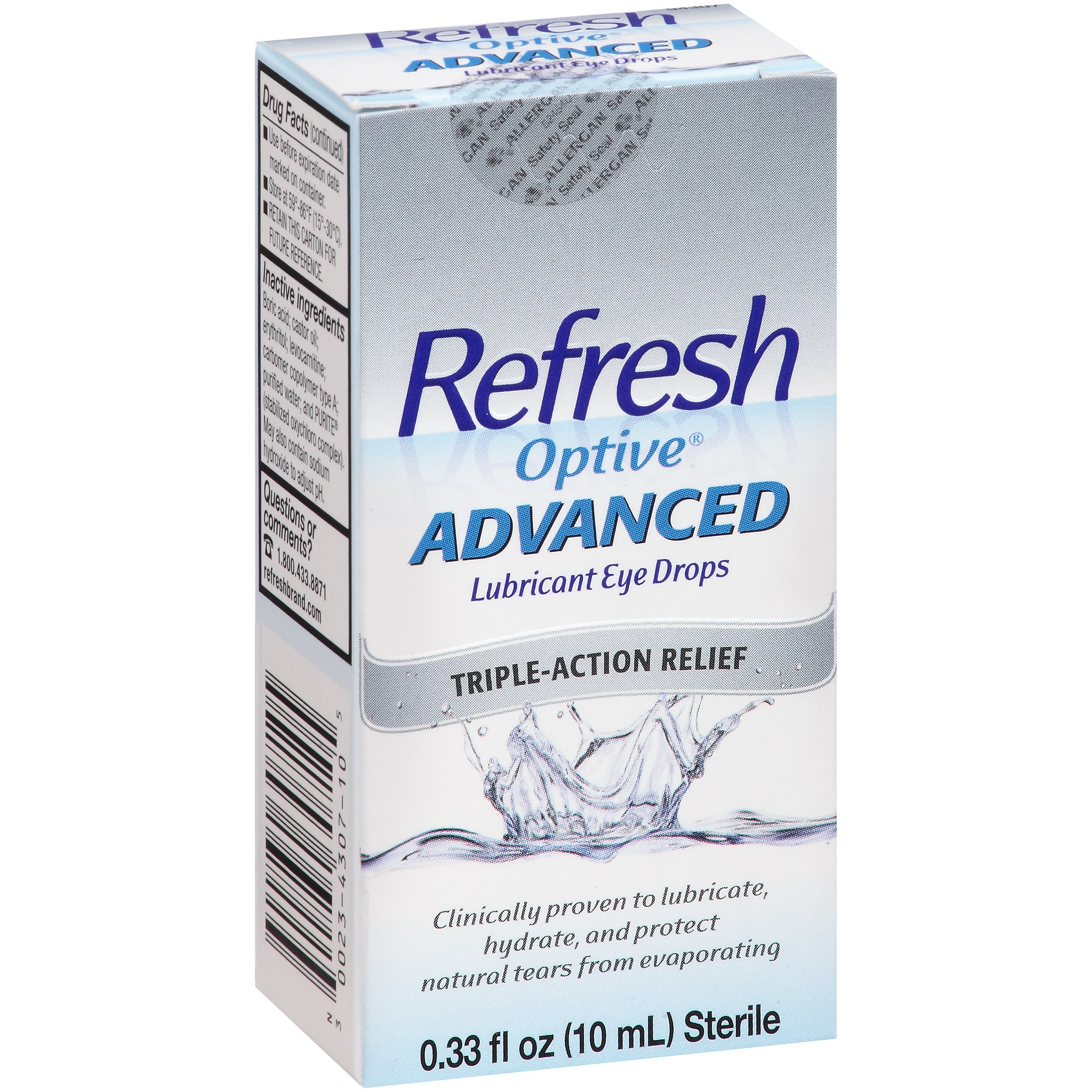 Refresh Optive® Advanced Lubricant Eye Drops 0.33 fl. oz. Box