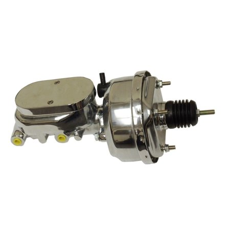 """8"""" Street Rod Single Power Brake Booster W/ Smooth Top Master Cylinder Chrome"""