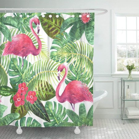 ARTJIA Natural Tropical Exotic Pink Flamingos Green Leaves Branches and Bright Flowers Polyester Shower Curtain Bathroom Decor 66x72 inches